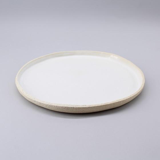 Assiette plate grès blanc...